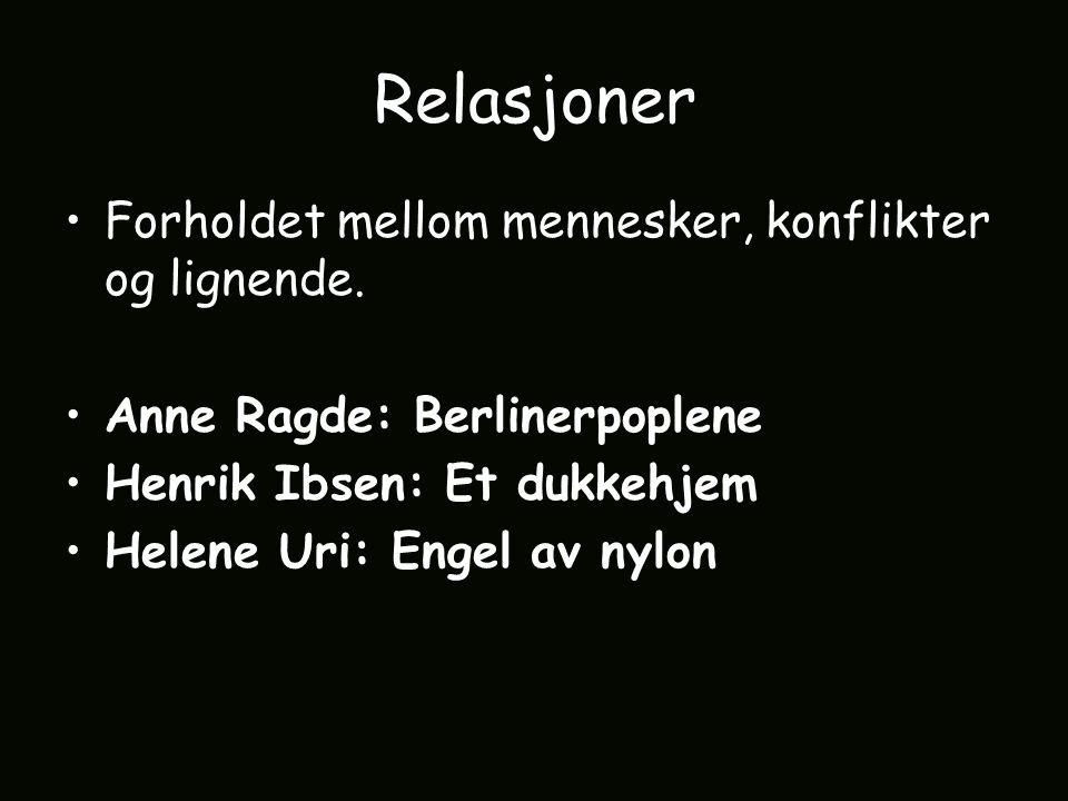 Relasjoner Forholdet mellom mennesker, konflikter og lignende.