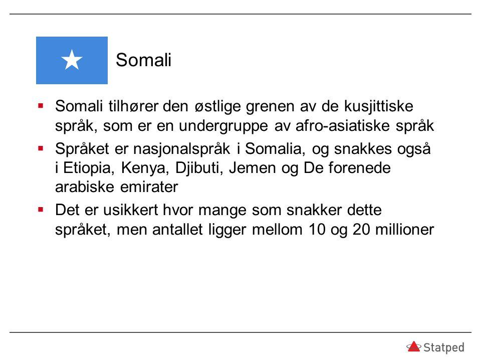 Somali Somali tilhører den østlige grenen av de kusjittiske språk, som er en undergruppe av afro-asiatiske språk.