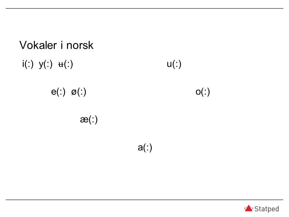 Vokaler i norsk i(:) y(:) ʉ(:) u(:) e(:) ø(:) o(:) æ(:) a(:)