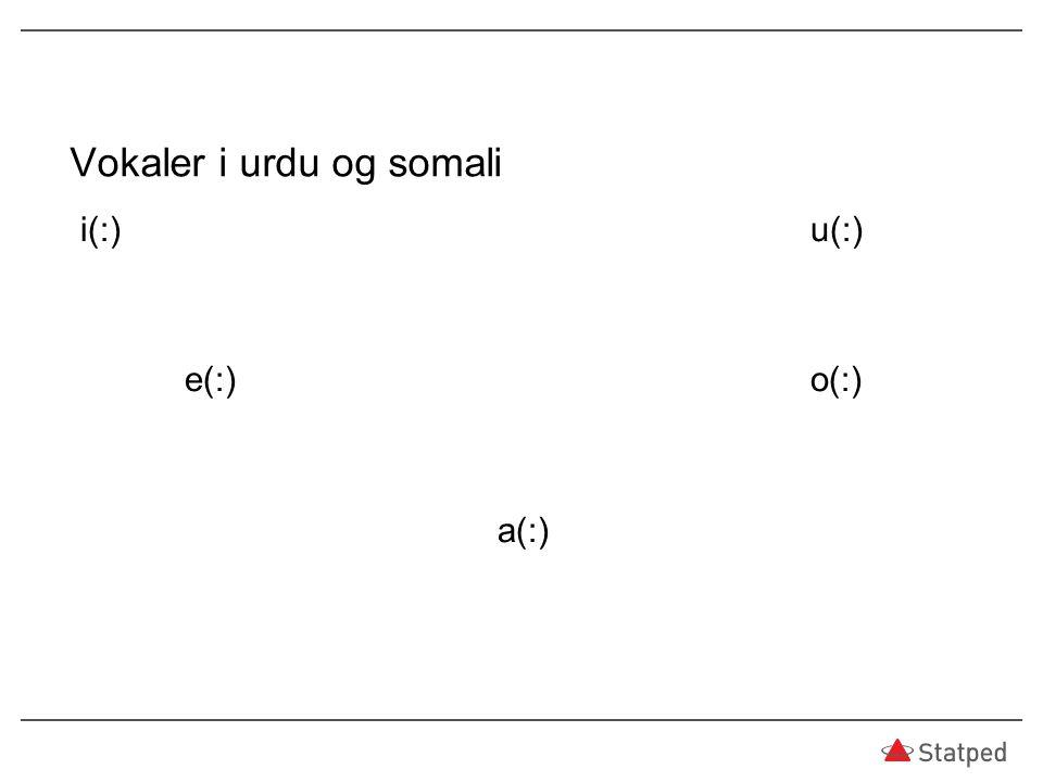 Vokaler i urdu og somali
