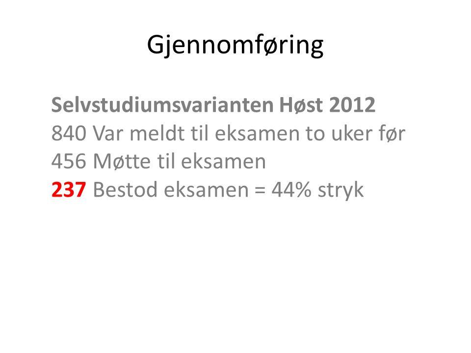 Gjennomføring Selvstudiumsvarianten Høst 2012 840 Var meldt til eksamen to uker før 456 Møtte til eksamen 237 Bestod eksamen = 44% stryk.