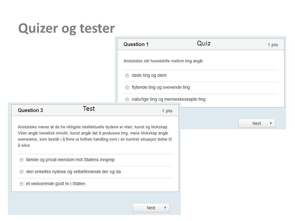 Quizer og tester Quiz Test
