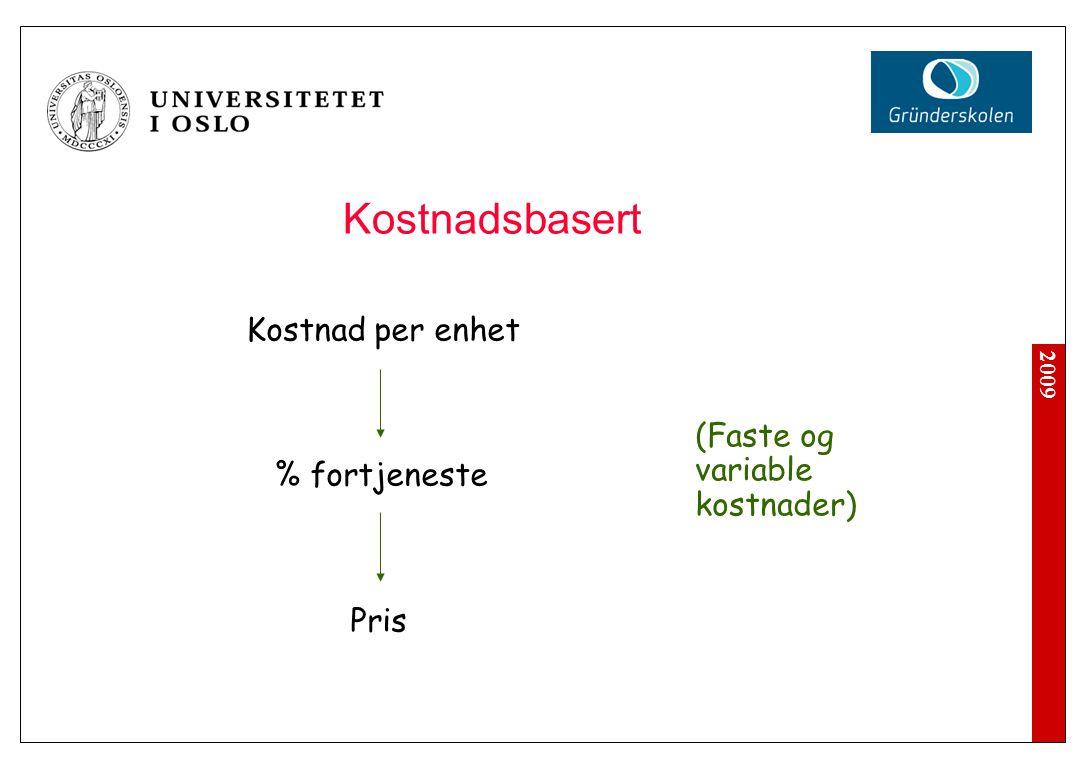 Prissetting Kostnadsbasert Markedsbasert Verdibasert