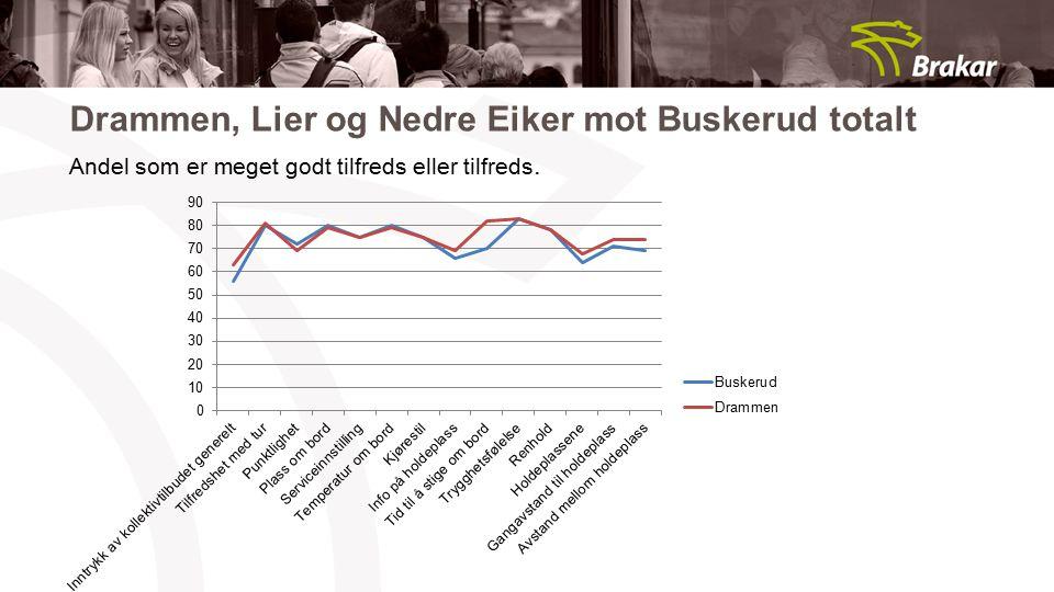 Drammen, Lier og Nedre Eiker mot Buskerud totalt