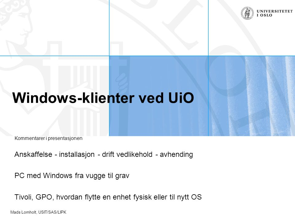 Windows-klienter ved UiO