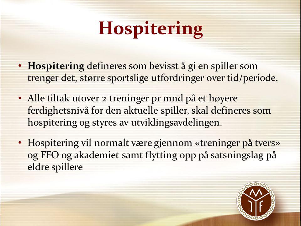 Hospitering Hospitering defineres som bevisst å gi en spiller som trenger det, større sportslige utfordringer over tid/periode.