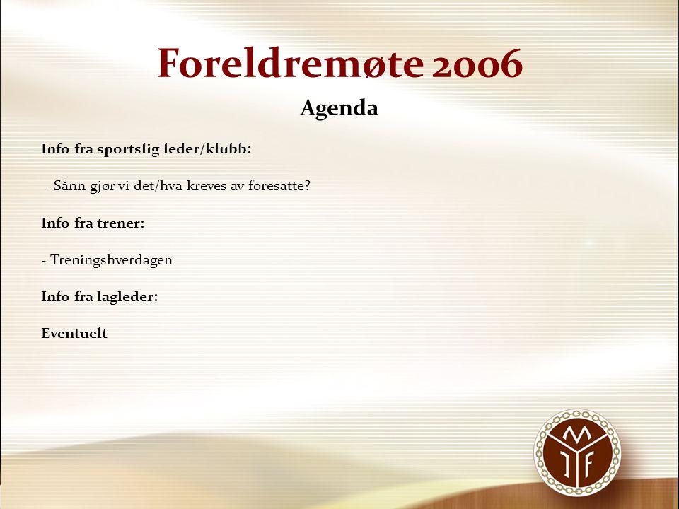 Foreldremøte 2006 Agenda Info fra sportslig leder/klubb: