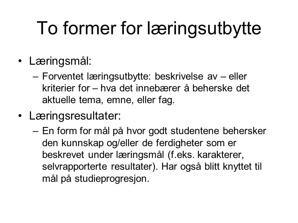 To former for læringsutbytte