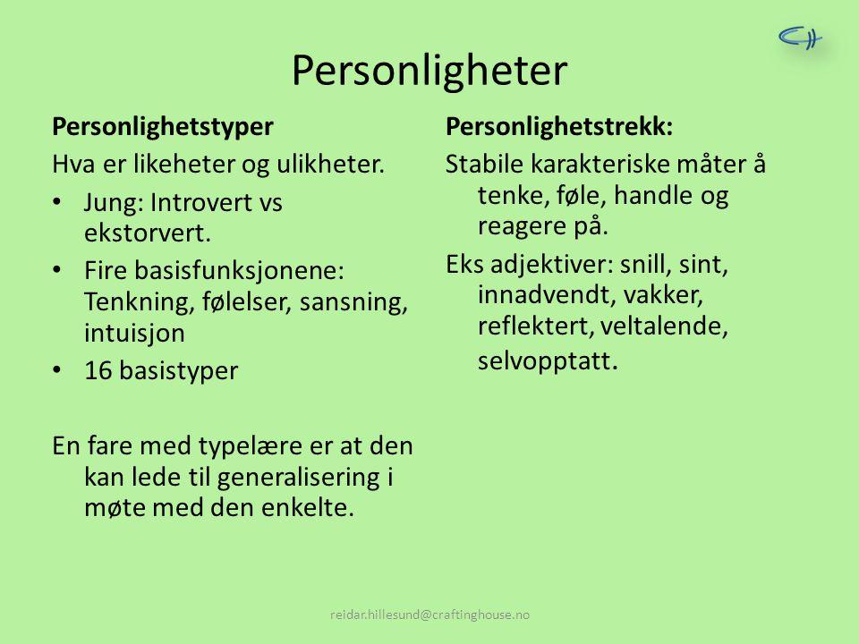 Personligheter Personlighetstyper Hva er likeheter og ulikheter.