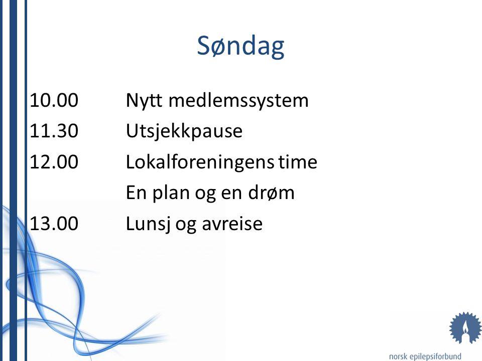 Søndag 10.00 Nytt medlemssystem 11.30 Utsjekkpause 12.00 Lokalforeningens time En plan og en drøm 13.00 Lunsj og avreise