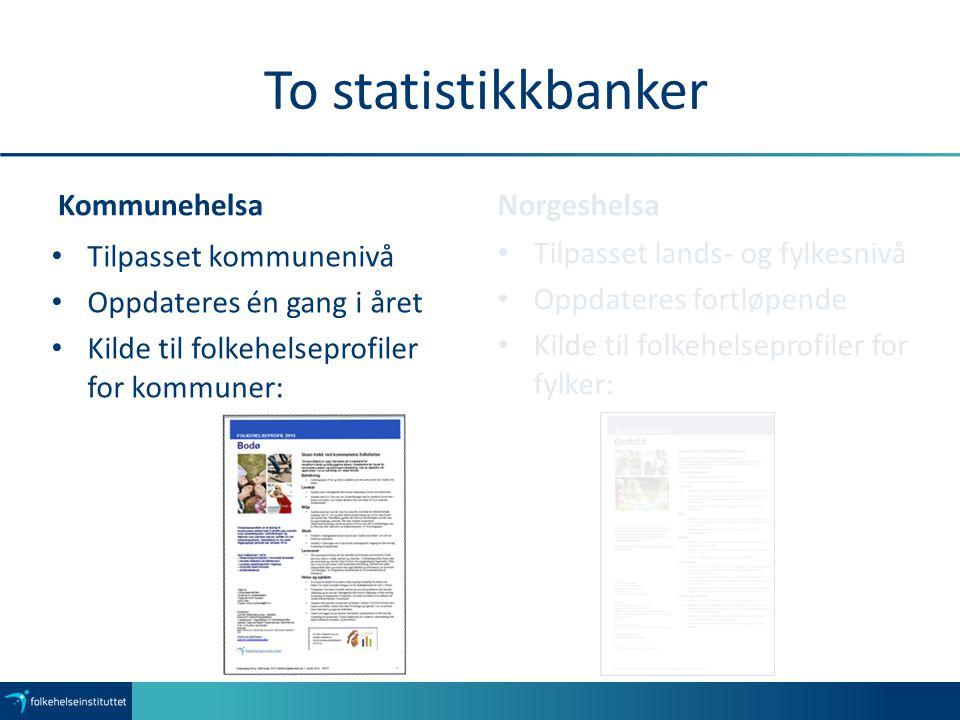 To statistikkbanker Kommunehelsa Norgeshelsa Tilpasset kommunenivå