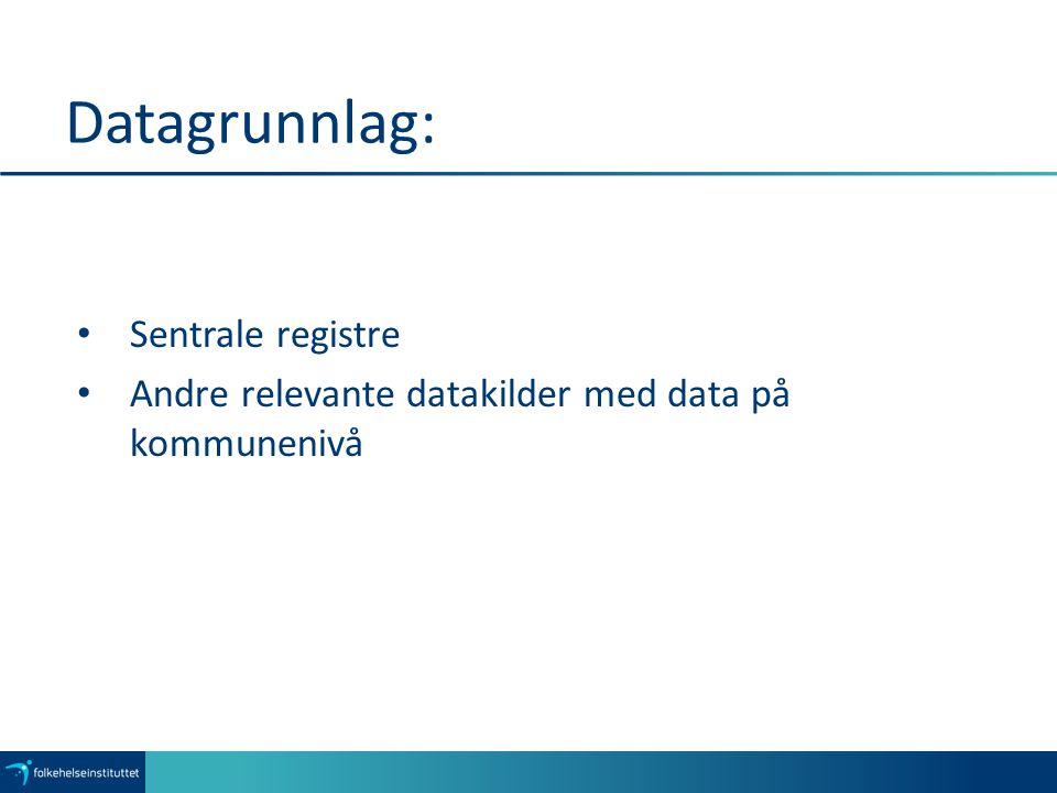 Datagrunnlag: Sentrale registre