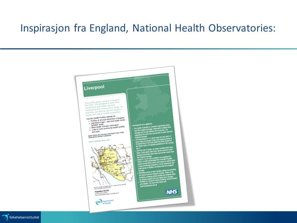 Inspirasjon fra England, National Health Observatories: