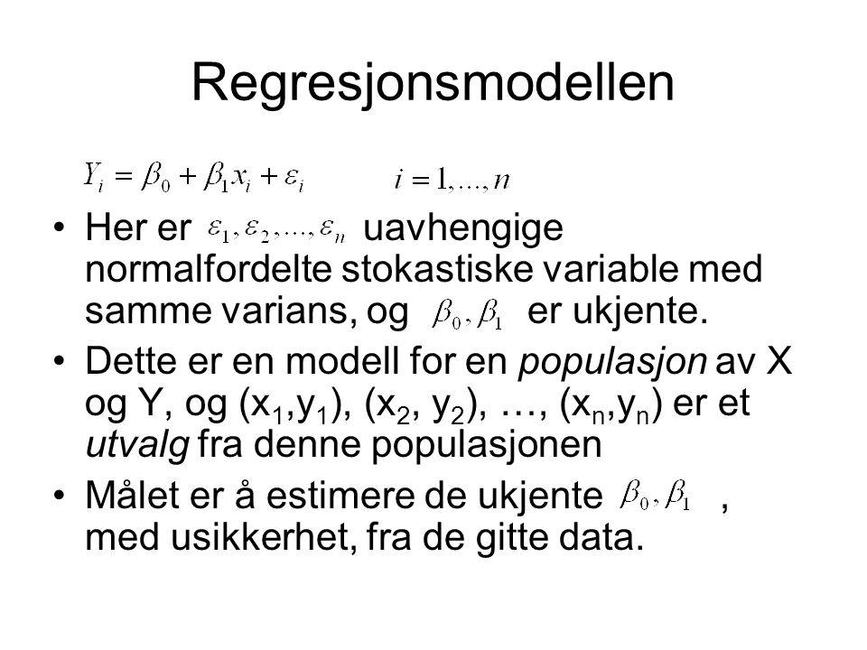 Regresjonsmodellen Her er uavhengige normalfordelte stokastiske variable med samme varians, og er ukjente.