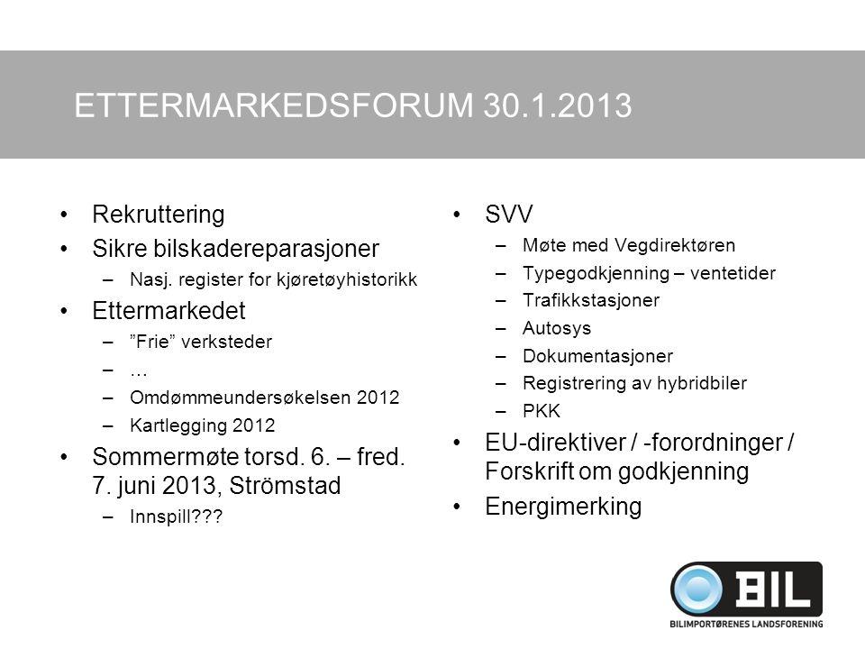 ETTERMARKEDSFORUM 30.1.2013 Rekruttering Sikre bilskadereparasjoner