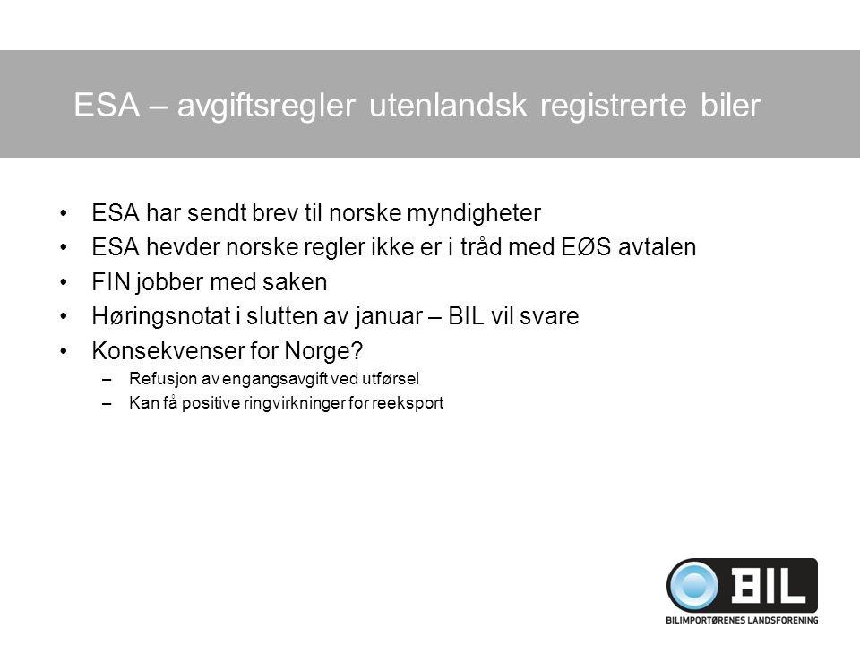 ESA – avgiftsregler utenlandsk registrerte biler