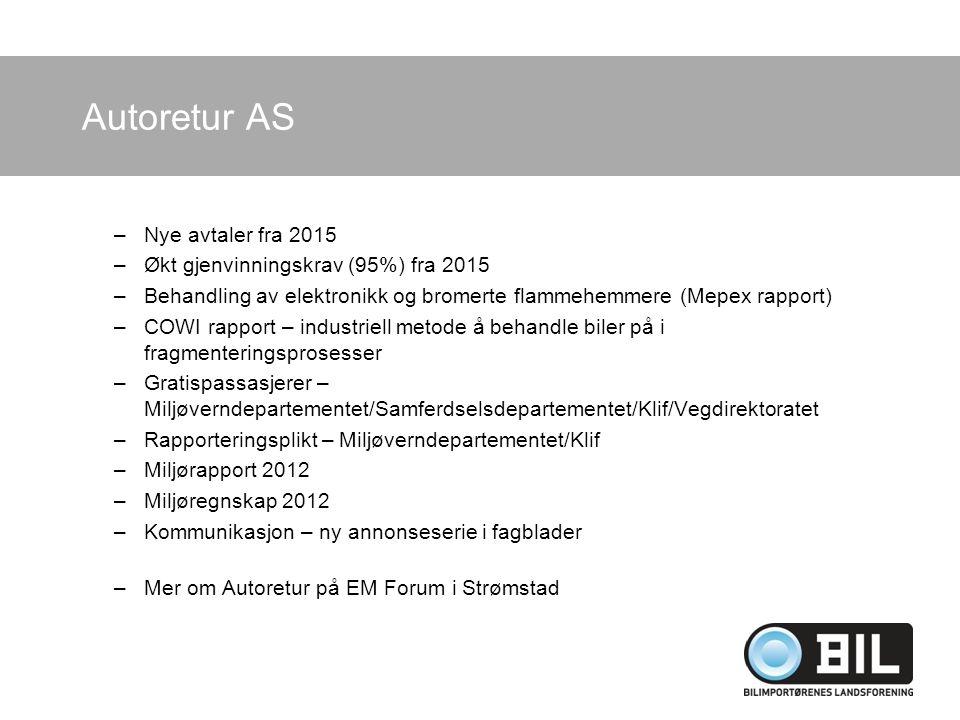 Autoretur AS Nye avtaler fra 2015 Økt gjenvinningskrav (95%) fra 2015