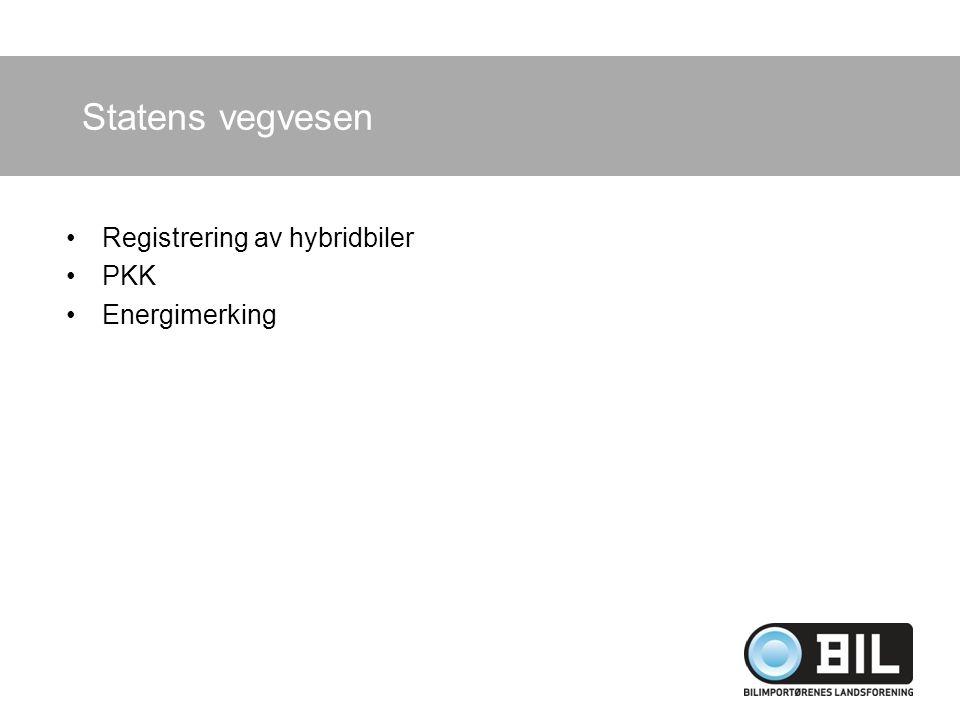 Statens vegvesen Registrering av hybridbiler PKK Energimerking