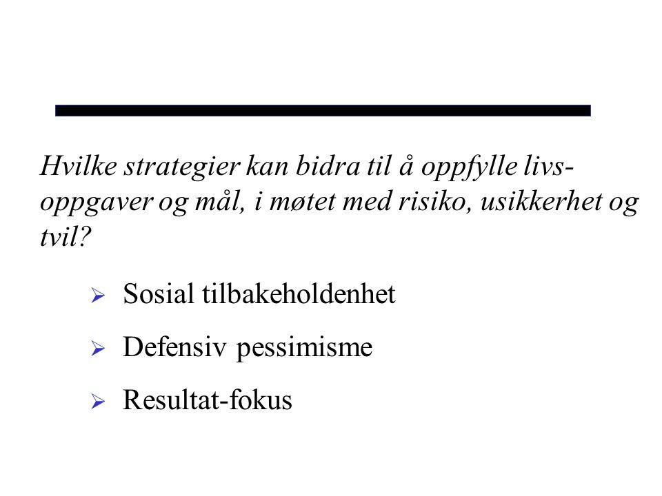 Hvilke strategier kan bidra til å oppfylle livs-oppgaver og mål, i møtet med risiko, usikkerhet og tvil