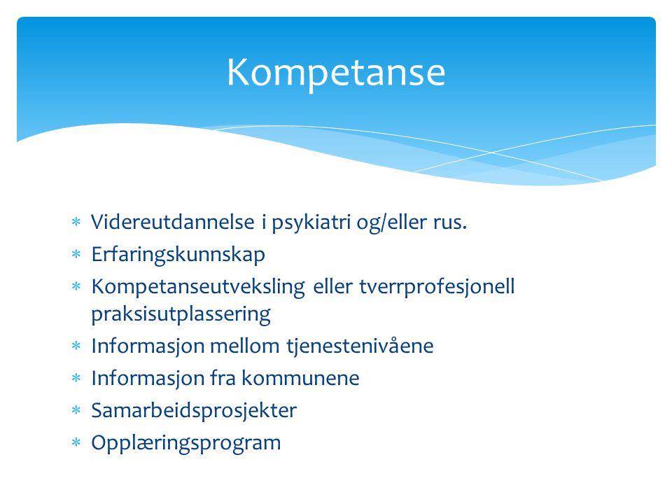 Kompetanse Videreutdannelse i psykiatri og/eller rus.