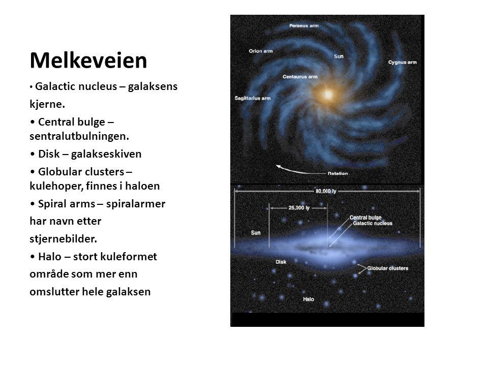 Melkeveien kjerne. • Central bulge – sentralutbulningen.