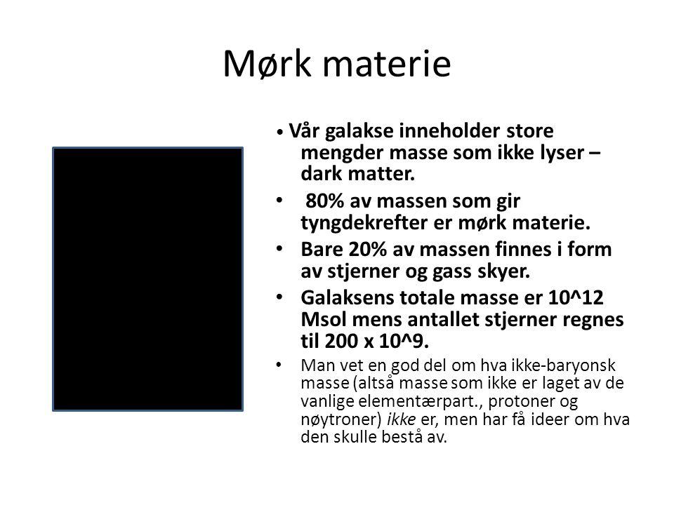 Mørk materie 80% av massen som gir tyngdekrefter er mørk materie.