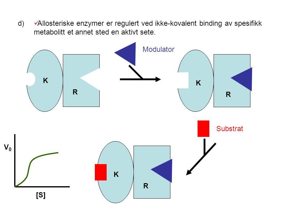 d) Allosteriske enzymer er regulert ved ikke-kovalent binding av spesifikk metabolitt et annet sted en aktivt sete.