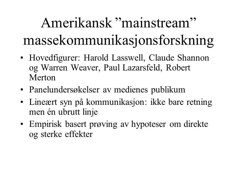 Amerikansk mainstream massekommunikasjonsforskning