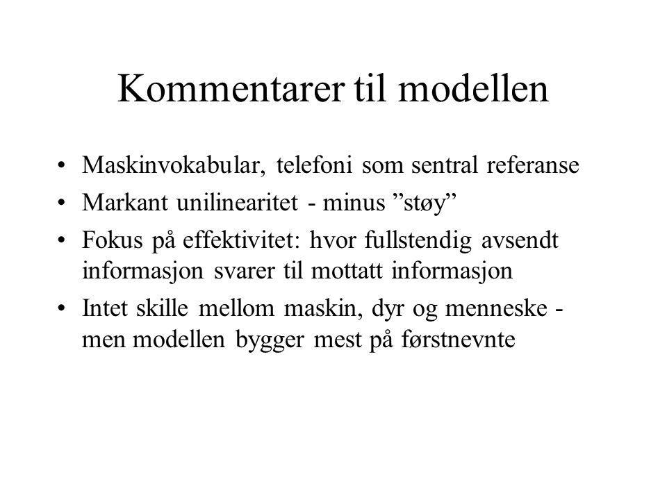 Kommentarer til modellen