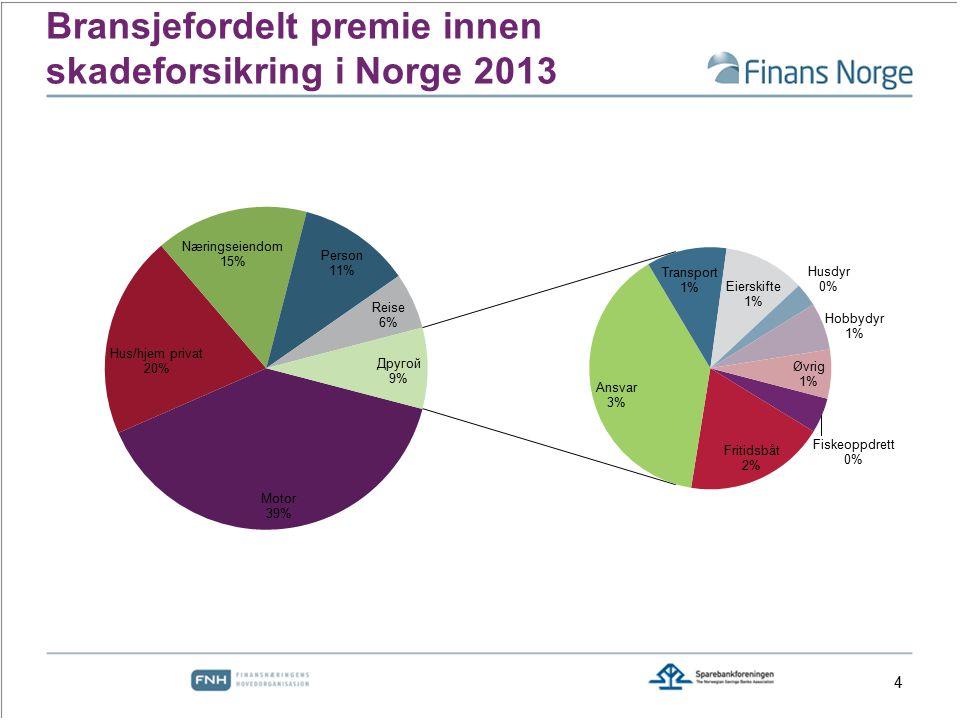 Bransjefordelt premie innen skadeforsikring i Norge 2013