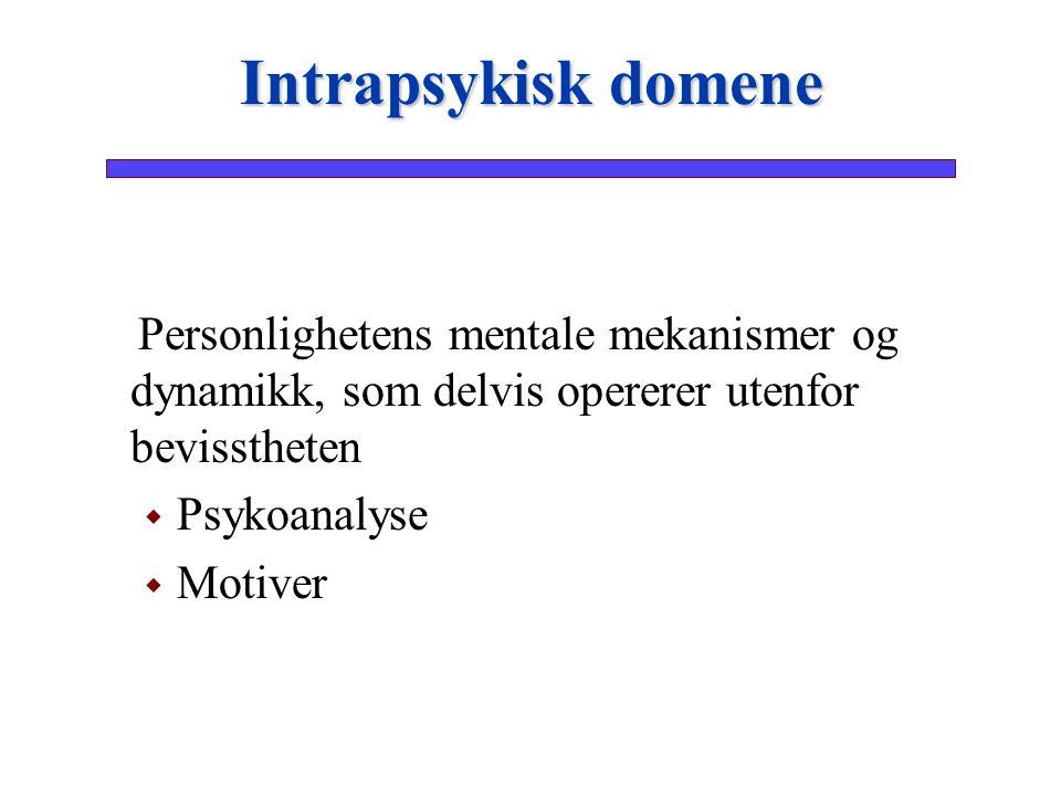 Intrapsykisk domene Personlighetens mentale mekanismer og dynamikk, som delvis opererer utenfor bevisstheten.