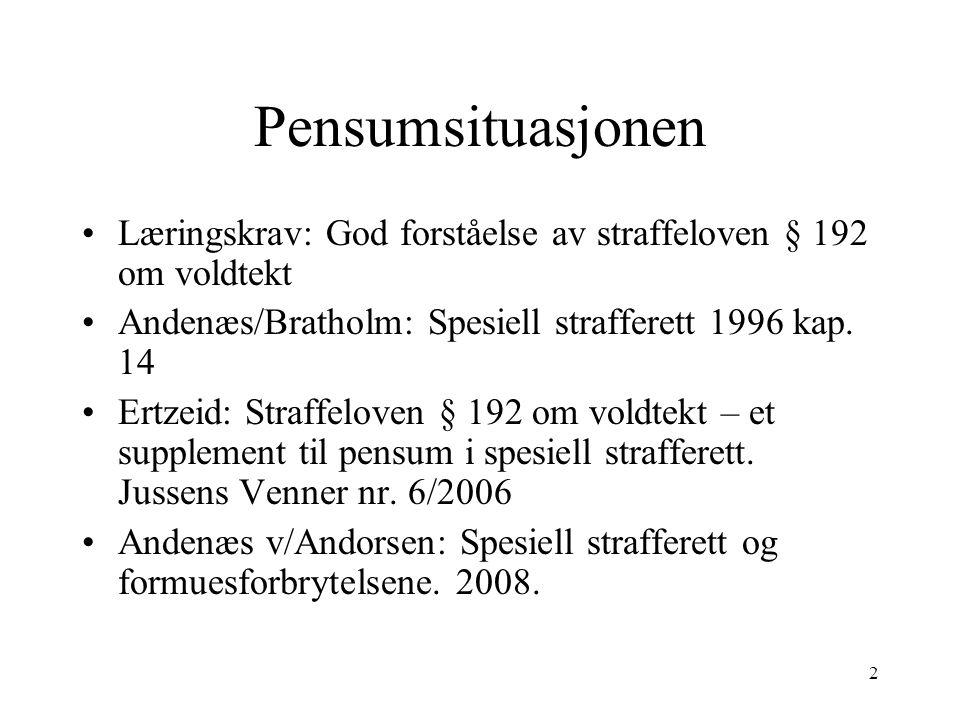Pensumsituasjonen Læringskrav: God forståelse av straffeloven § 192 om voldtekt. Andenæs/Bratholm: Spesiell strafferett 1996 kap. 14.