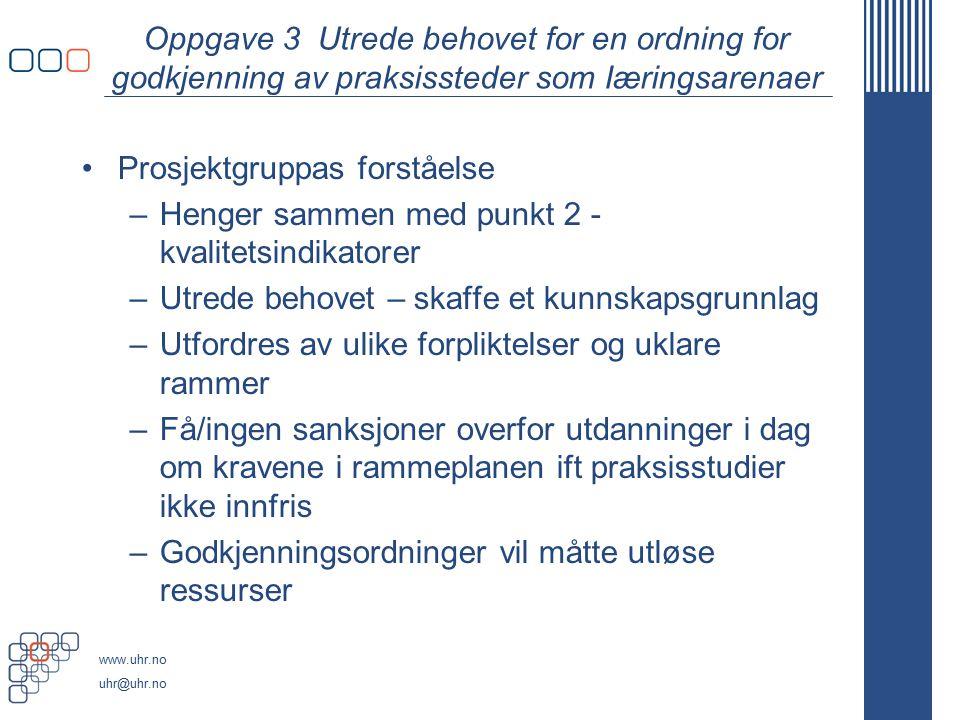 Oppgave 3 Utrede behovet for en ordning for godkjenning av praksissteder som Iæringsarenaer