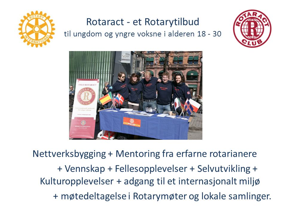 Nettverksbygging + Mentoring fra erfarne rotarianere
