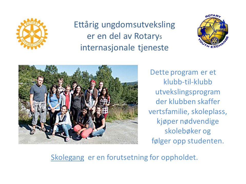 Ettårig ungdomsutveksling er en del av Rotarys internasjonale tjeneste