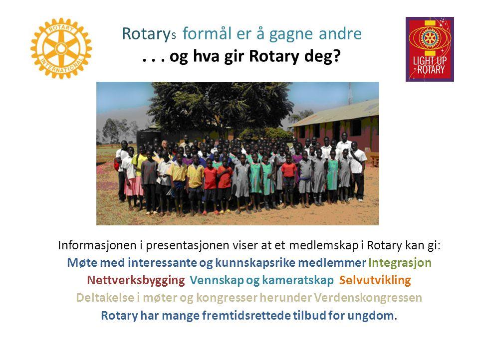 Rotarys formål er å gagne andre . . . og hva gir Rotary deg