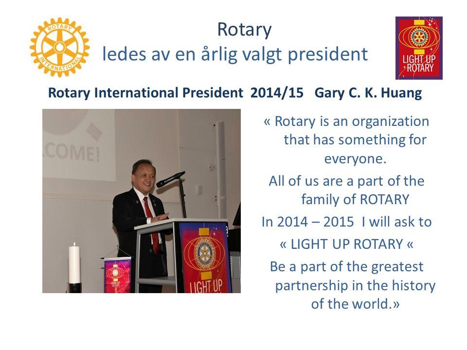 Rotary ledes av en årlig valgt president