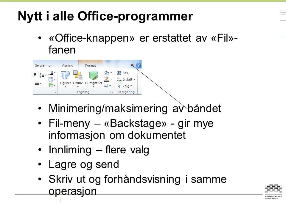 Nytt i alle Office-programmer