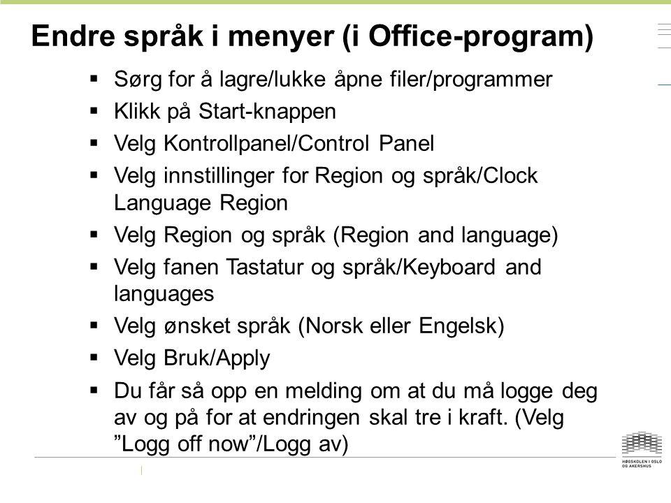 Endre språk i menyer (i Office-program)
