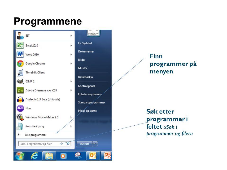 Programmene Finn programmer på menyen