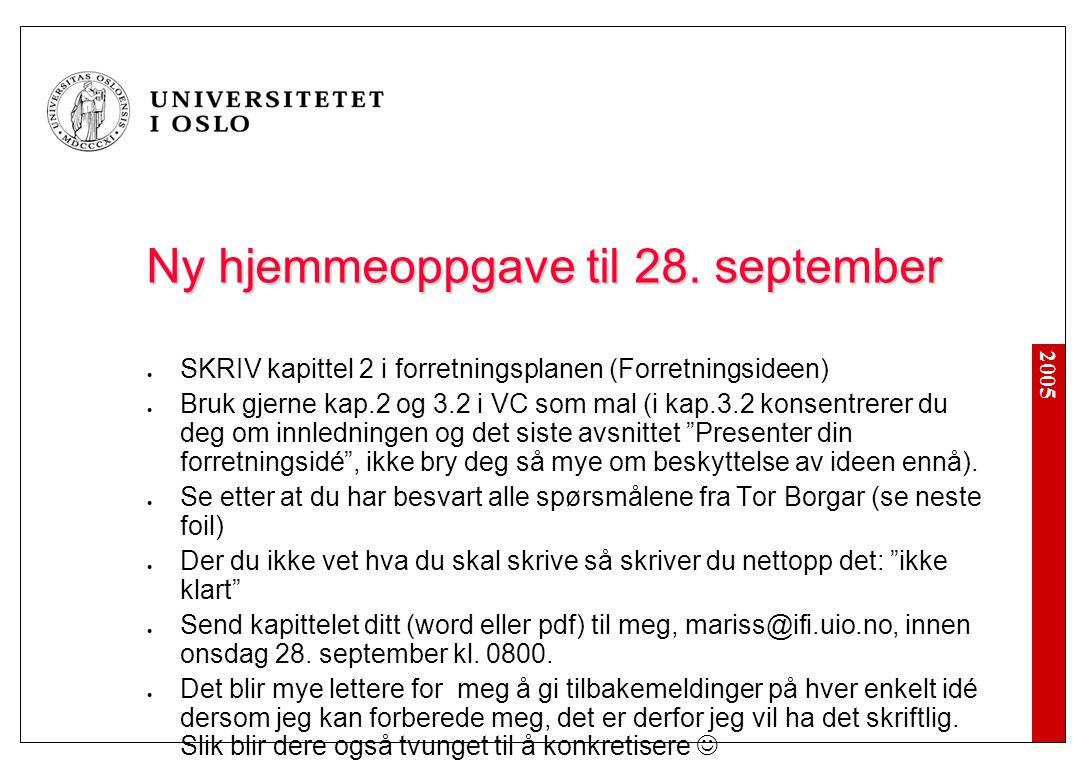 Planlagt hjemmeoppgave til 28. september – OBS: Utsatt