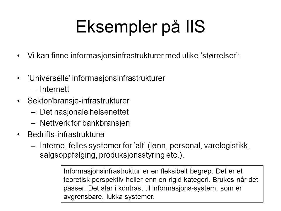 Eksempler på IIS Vi kan finne informasjonsinfrastrukturer med ulike 'størrelser': 'Universelle' informasjonsinfrastrukturer.