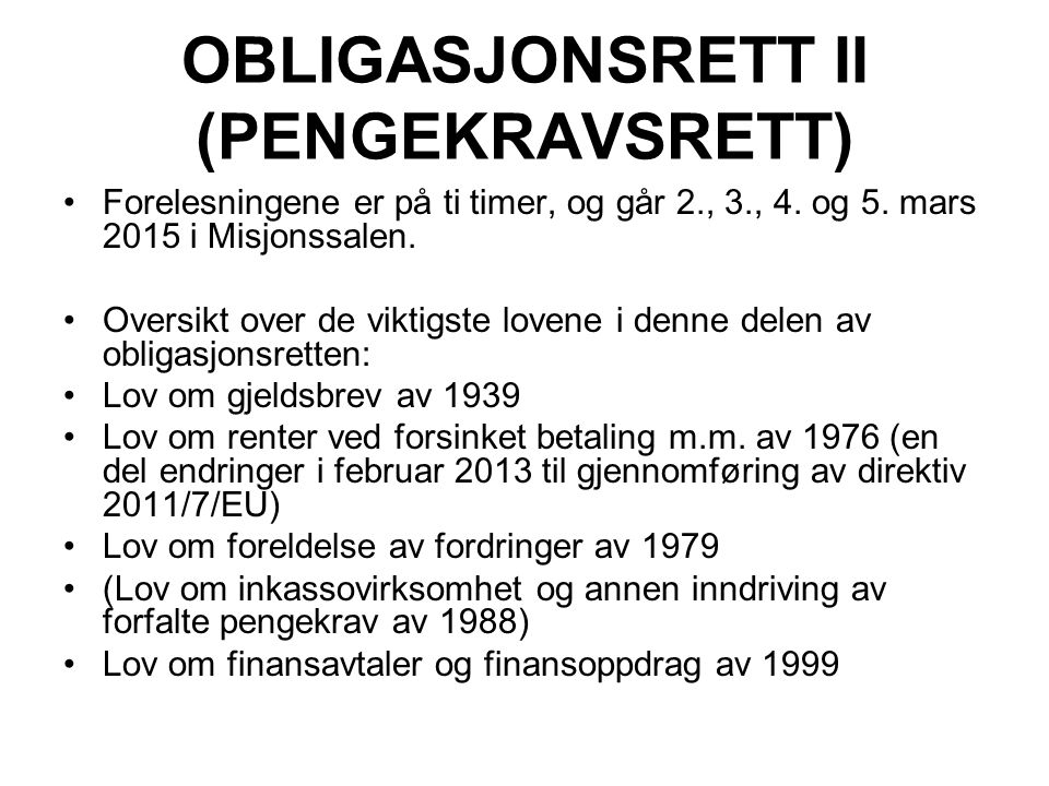 OBLIGASJONSRETT II (PENGEKRAVSRETT)