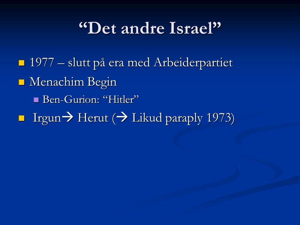 Det andre Israel 1977 – slutt på era med Arbeiderpartiet