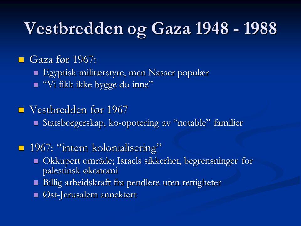 Vestbredden og Gaza 1948 - 1988 Gaza før 1967: Vestbredden før 1967