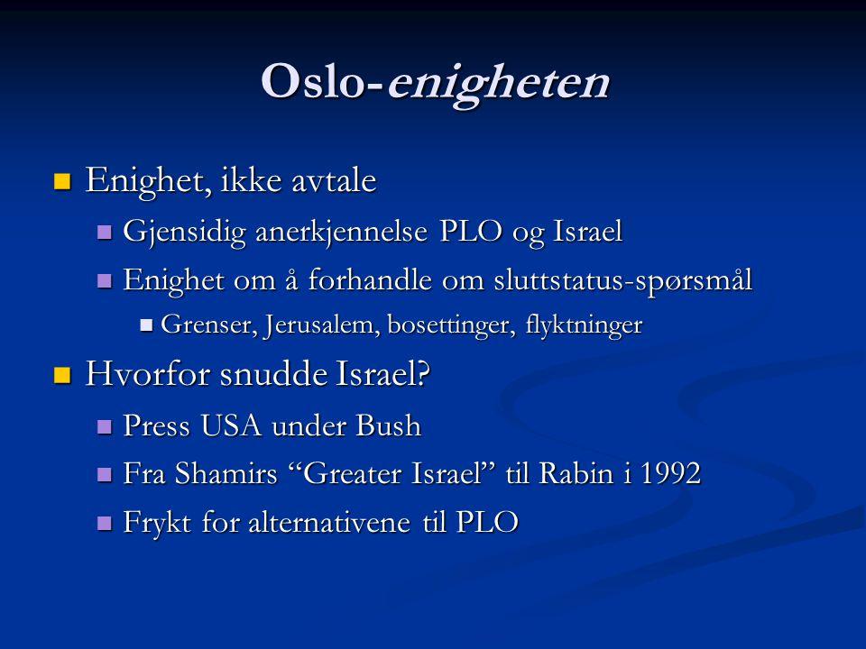 Oslo-enigheten Enighet, ikke avtale Hvorfor snudde Israel