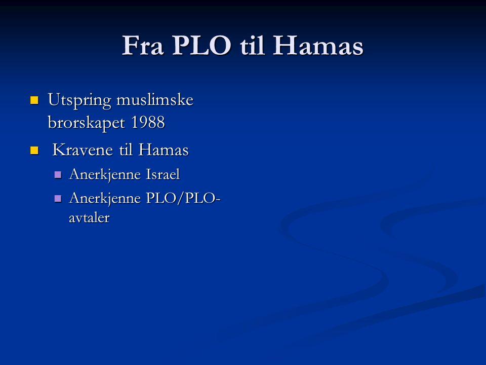 Fra PLO til Hamas Utspring muslimske brorskapet 1988 Kravene til Hamas