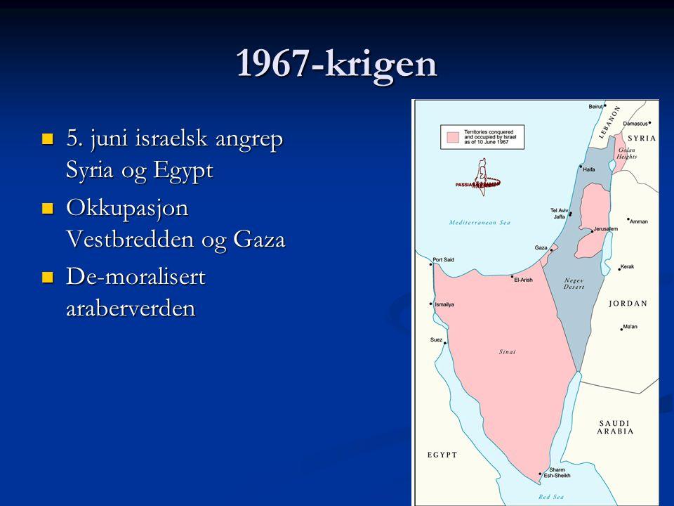 1967-krigen 5. juni israelsk angrep Syria og Egypt