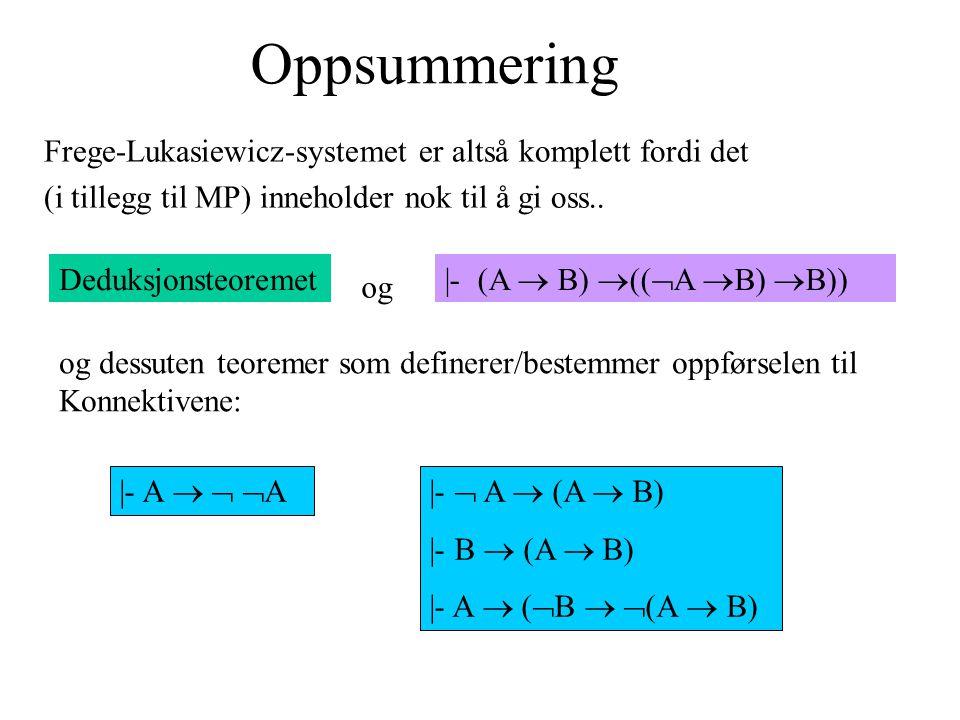 Oppsummering Frege-Lukasiewicz-systemet er altså komplett fordi det