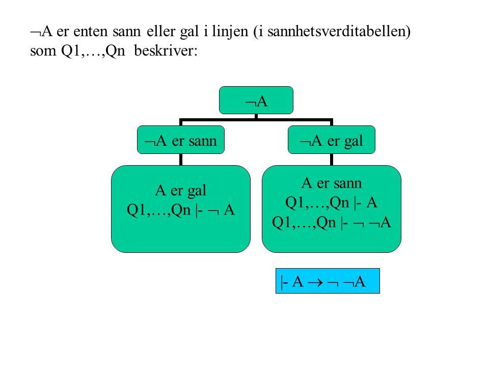 A er enten sann eller gal i linjen (i sannhetsverditabellen) som Q1,…,Qn beskriver: